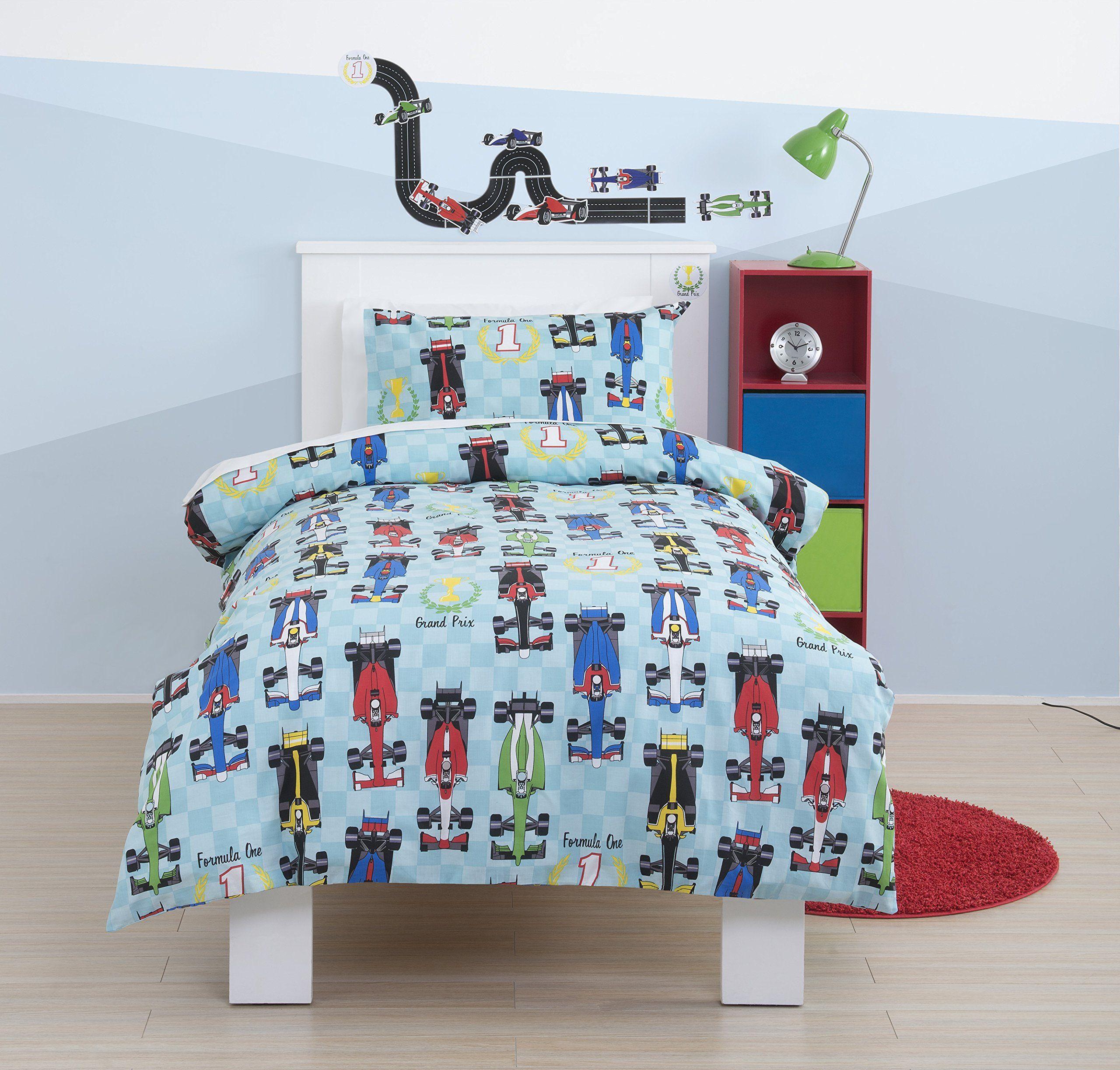 F1 Formula1 Cars Single Boys Duvet Bedding Set Also Available For Toddler Cotbed