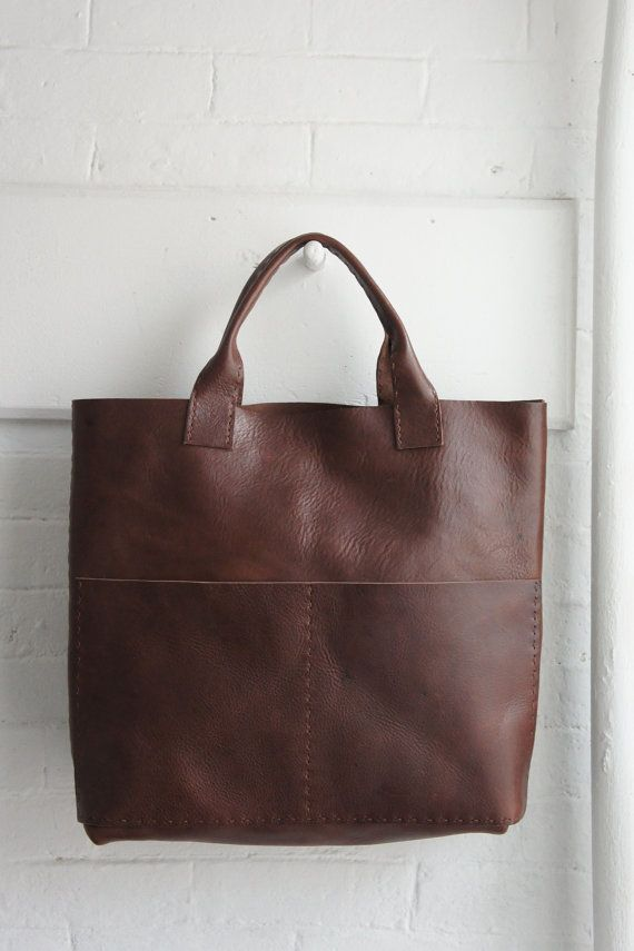 Hedendaags Heavy Leather Tote Havana Brown Unisex Made by stitchandtickle XH-72