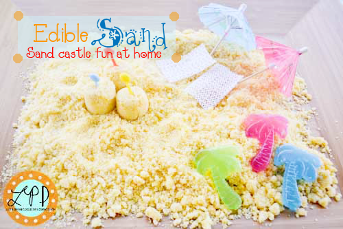 Edible Sand Sensory Activity Happy Friday! Hi friends, who lives next to the beach because we would love to come visit! Growing up in California I lived right next to the water and I miss it a ton! So in honor of our beachtheme, we recreated a mini beach right in our backyard for the …