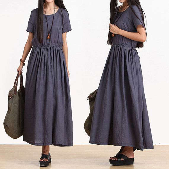 Navy temperament lace dress folds / cotton round neck by dreamyil, $123.00
