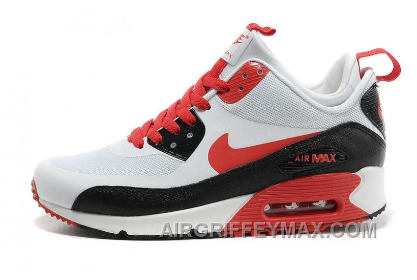 Hot Soldes Bonne Qualite Homme Nike Air Max 90 Mid Winter No Sew  Sneakerboot NS Blanche Noir Rouge Magasin, Price: $77.00