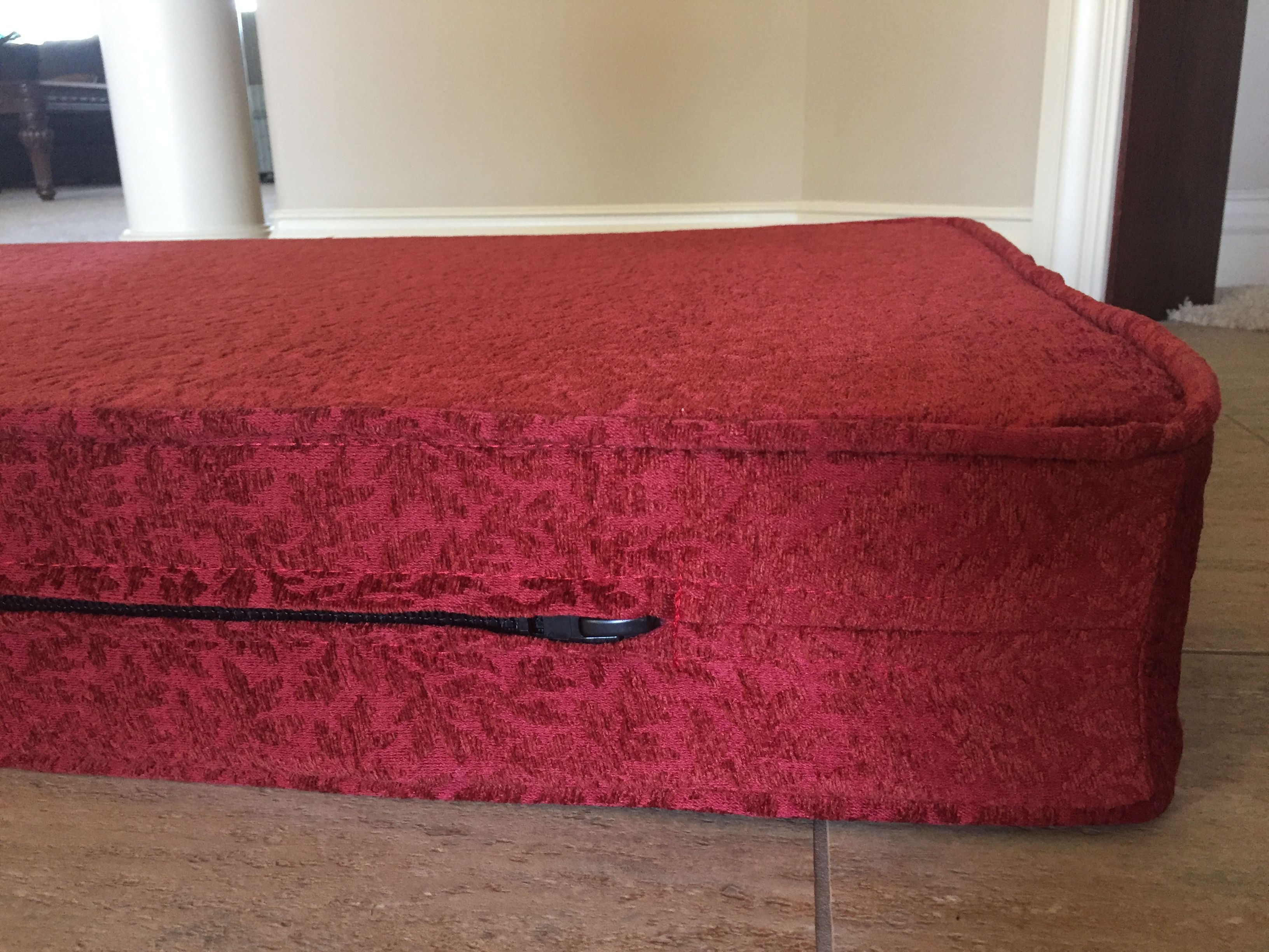 Custom 7 Foot Cushion For A Kitchen Bench Seat With Piping And Zipper On The Back Side Made An Elegant Waverly Home Décor Fabric In Dark Red