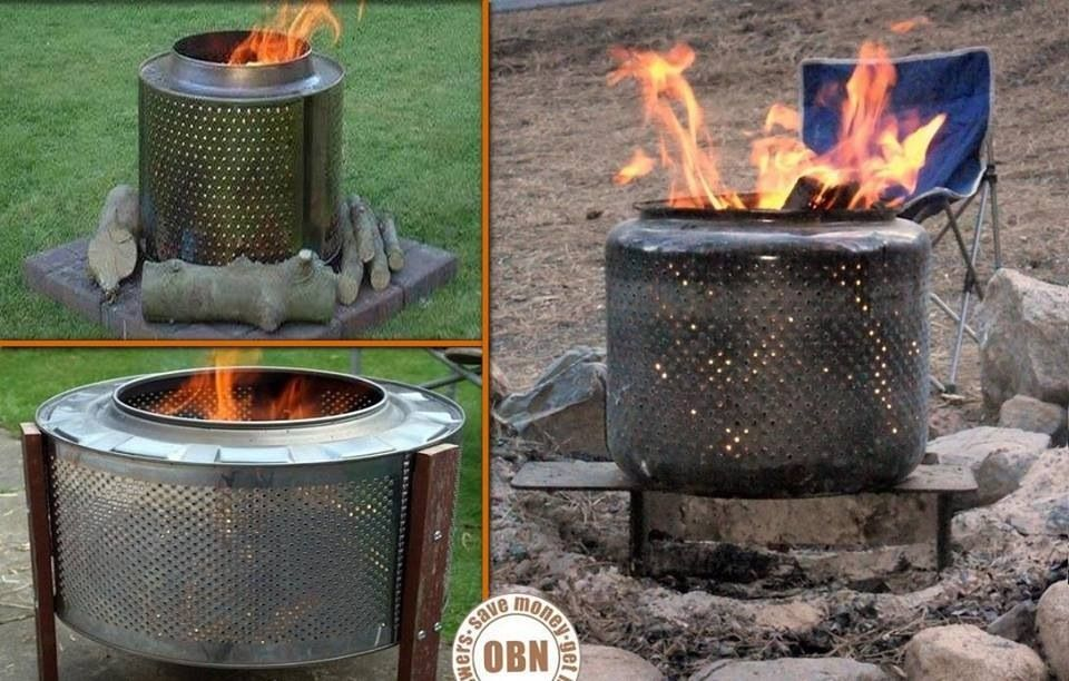 Recycled Dryer Drum Into A Fire Pit Old Washing Machine Washing