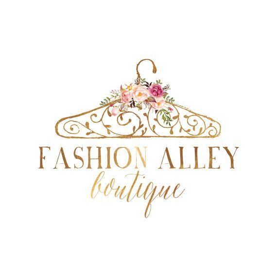 Branding Package Gold Hanger Logo Watercolor Flowers Logo Etsy Hanger Logo Fashion Logo Branding Flower Logo Design
