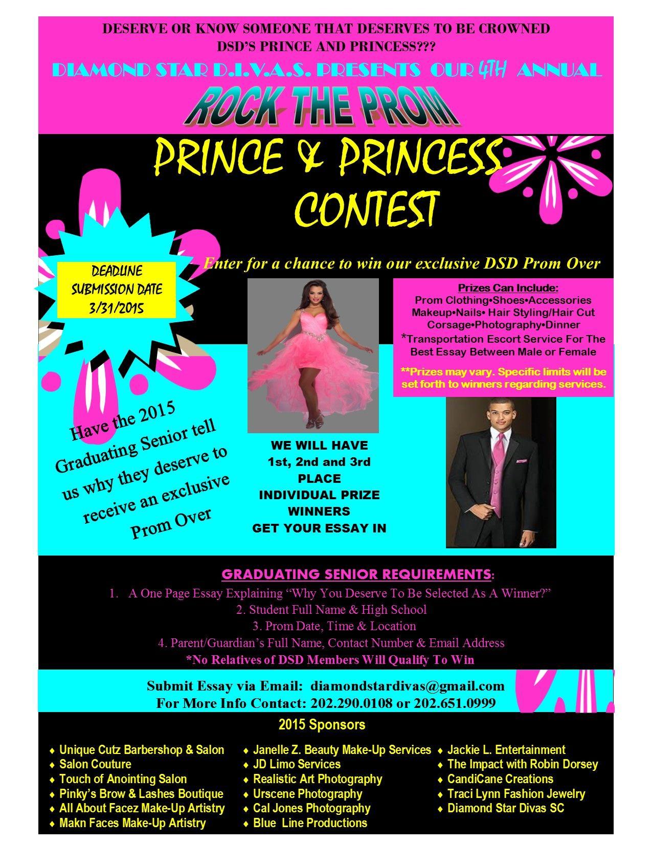 Diamond Star Diva Sc 4th Rock The Prom Prince Princes Contest For Graduating H S Senior Within Dmv Metro And Pocking Essay