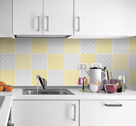 Tuiles Autocollants - Patchwork jaune et gris - Cuisine - salle de