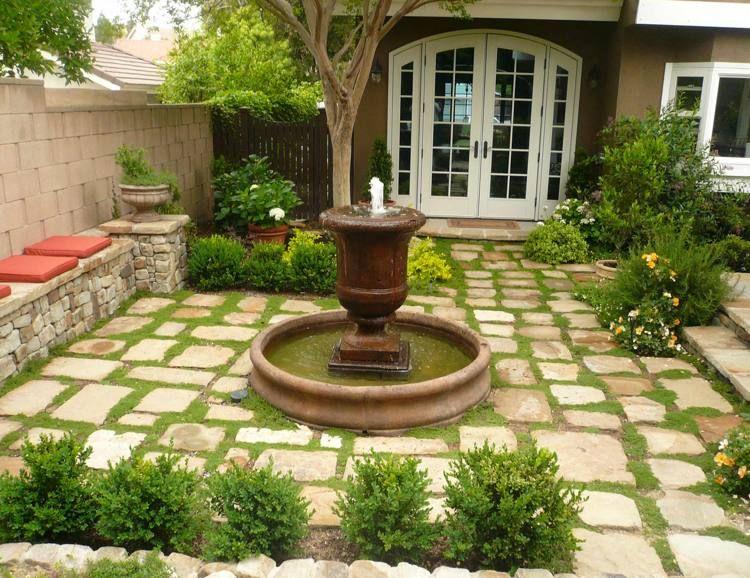 Dalles terrasse à joints plantés- idées géniales de déco jardin réussie