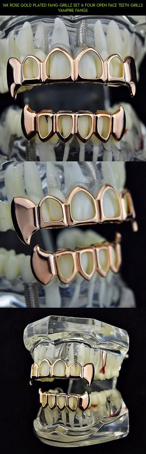 14k Rose Gold Plated Fang Grillz Set 4 Four Open Face Teeth Grills Vampire Fangs Fpv Camera Racing Rose Drone T Grillz Fang Grillz Grills Teeth