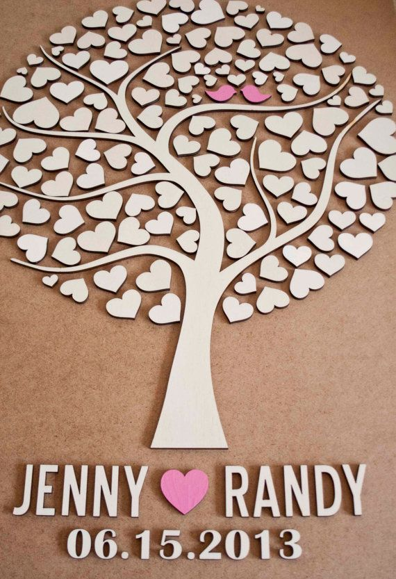 Wedding Guest Book Alternative Tree Wood Rustic Guestbook Gift Of Hearts Leaves Pinterest