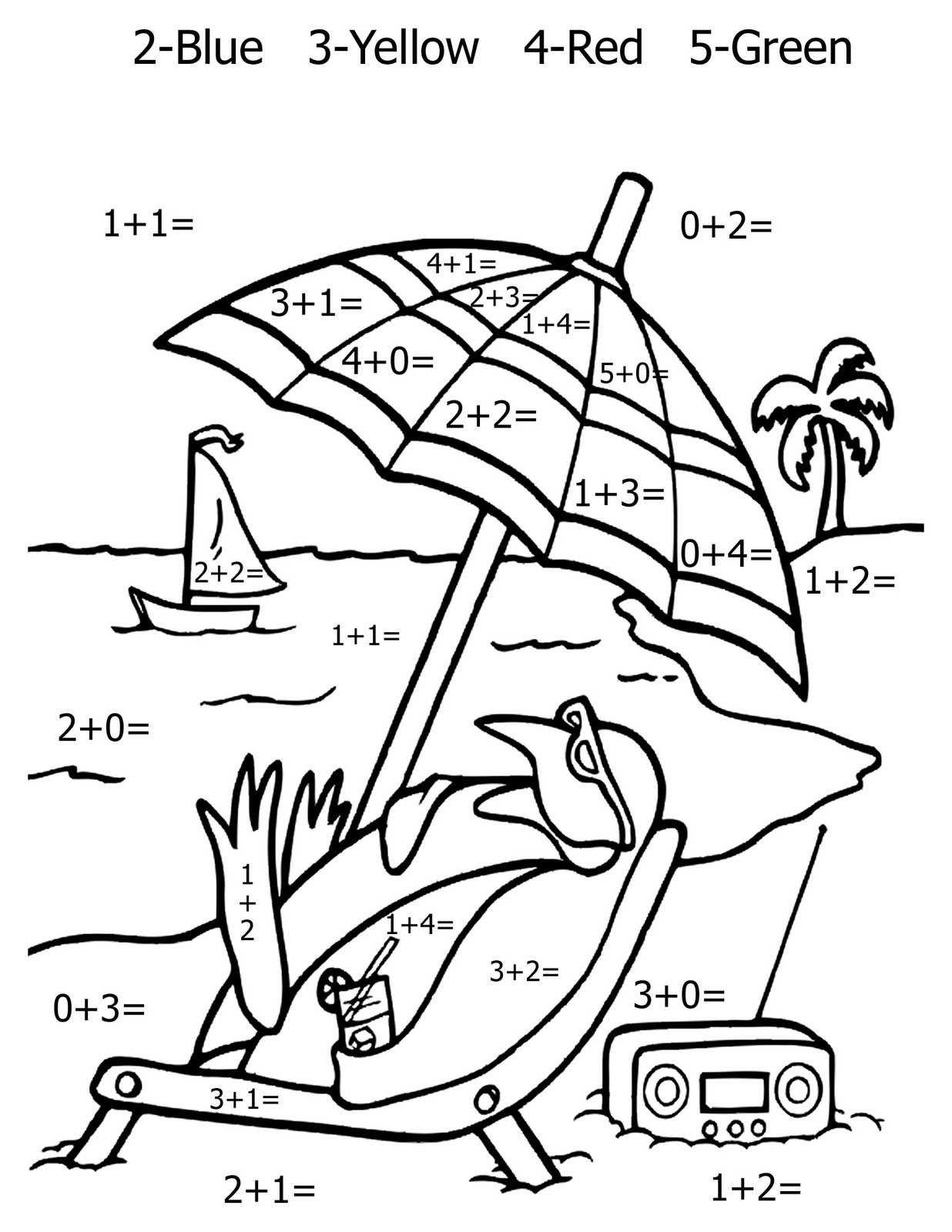 Math Addition Coloring Worksheets Di Dengan Gambar