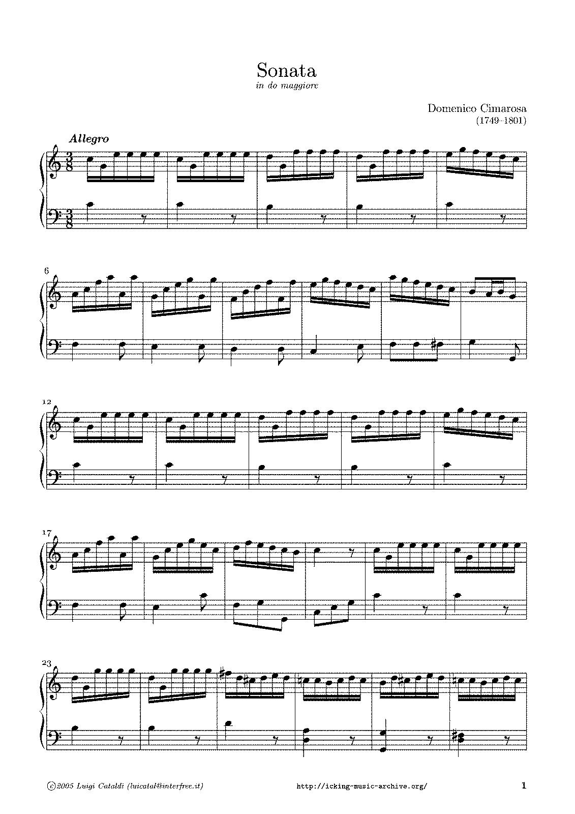 Keyboard Sonatas (Cimarosa, Domenico) - IMSLP/Petrucci Music