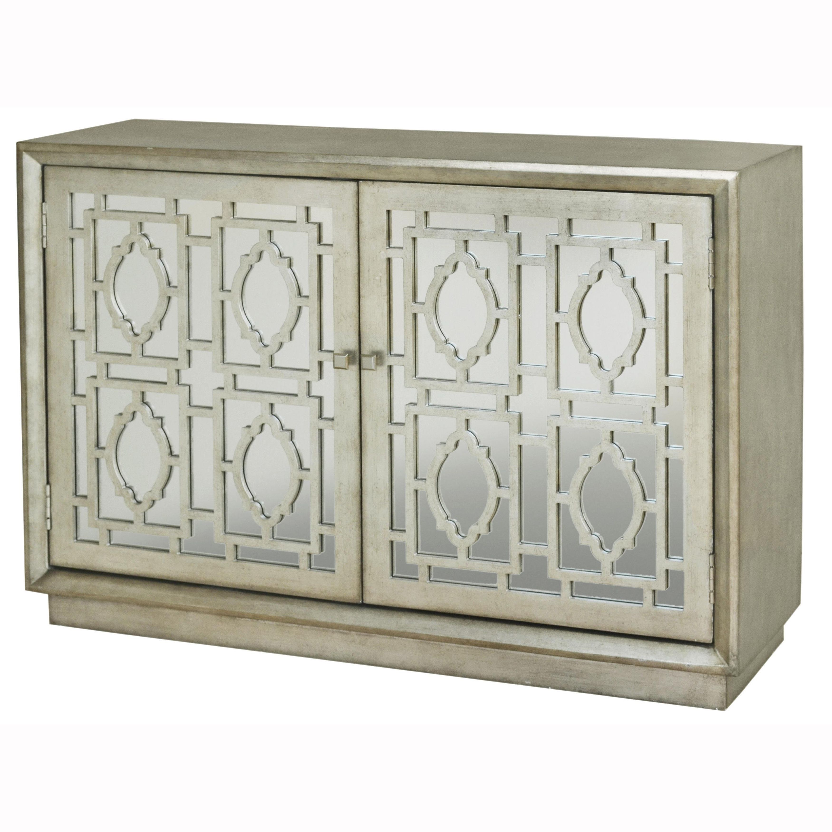 This hand painted distressed silver finish mirrored accent chest ...