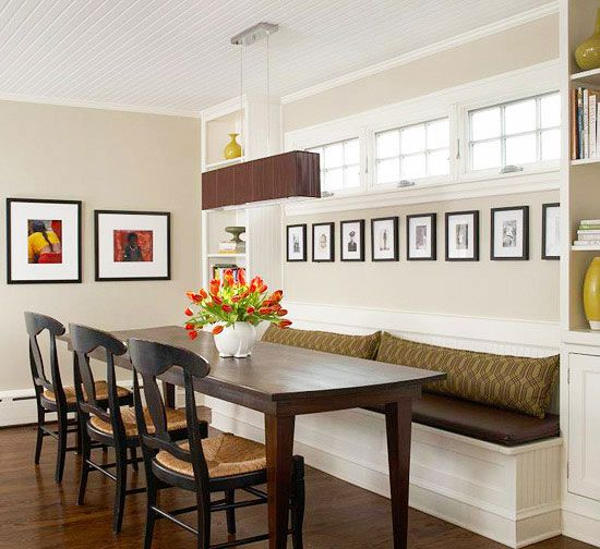 Dining room banquette on pinterest banquette bench for Dining room banquette