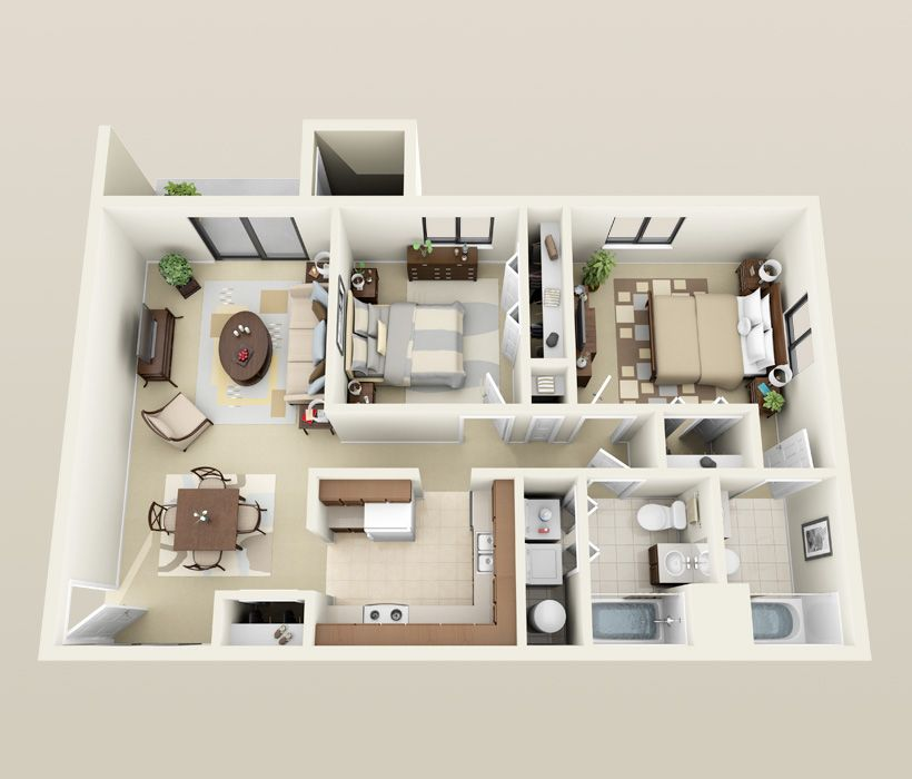 Image Result For 2 Bedroom 2 Bath Apartments 2 Bedroom Apartment Floor Plan Apartment Layout Two Bedroom Apartments