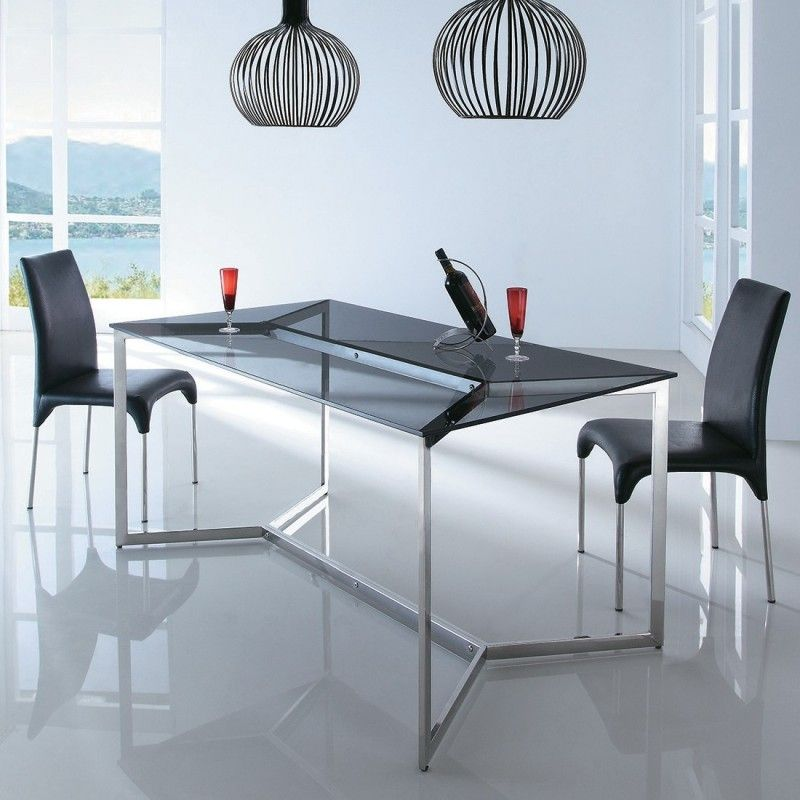 Table Design Verre Trempe Noir Et Acier Chrome Kina Table A
