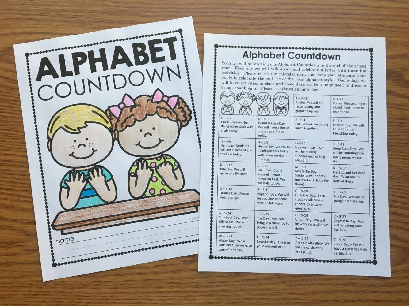 Alphabet Countdown Ideas Kindergarten writing