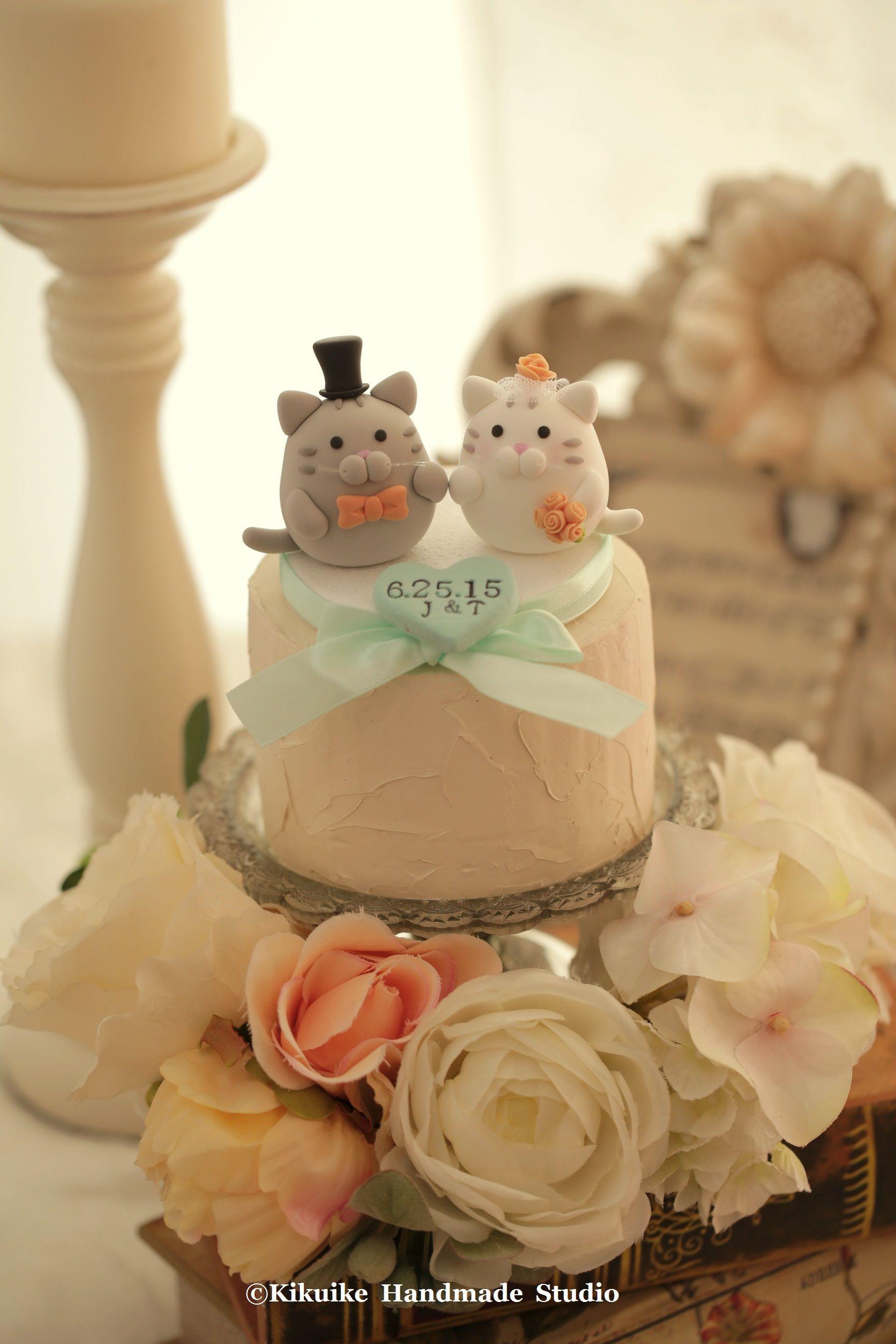 cat and kitty Wedding Cake Topperk835 in 2020 Wedding