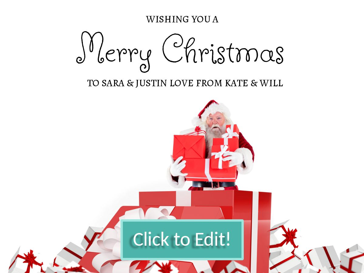 Santa Claus with a lot of gifts on a personalizable Christmas card ...