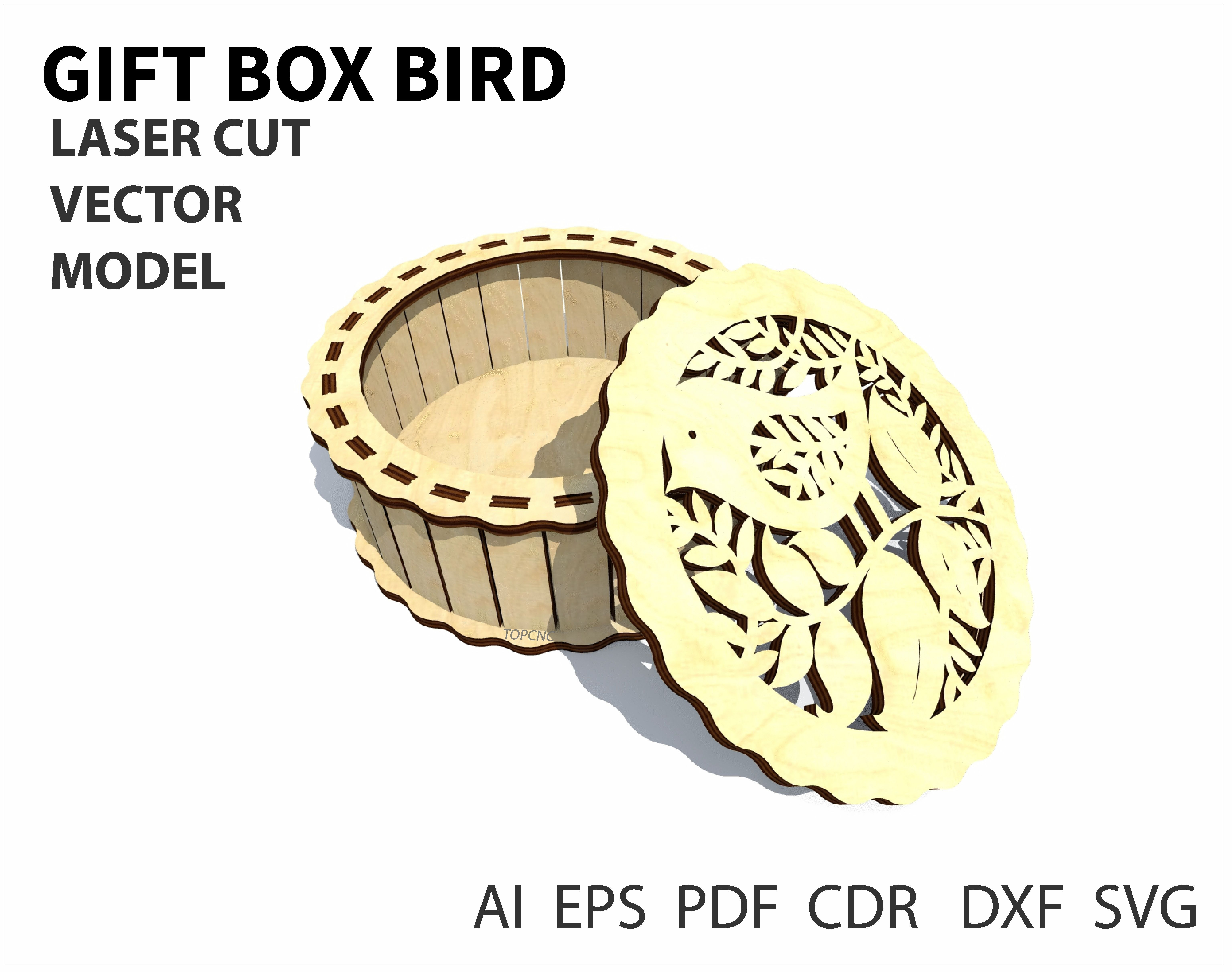 Geometric Bird Shaped Gift Box Plans for CNC Router Laser Cutting