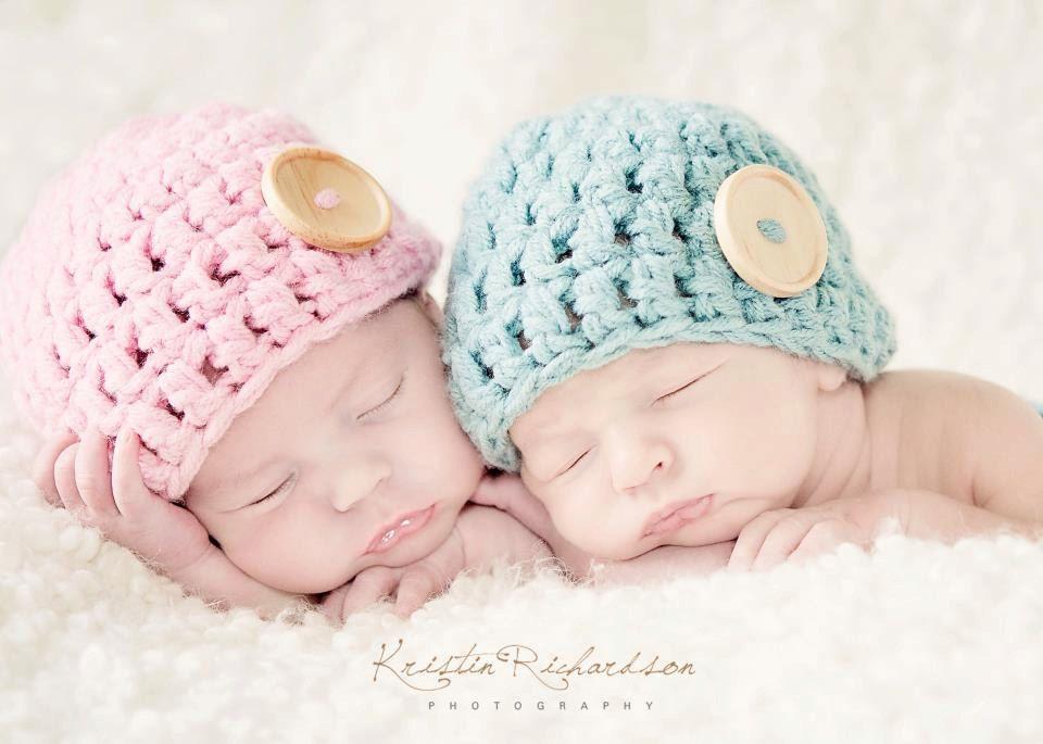 673d568ce Baby Button Hat for Twins Crochet Newborn Photo Prop. $34.00, via Etsy.