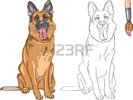 Libro para colorear para los niños del perro sonriente divertido ...