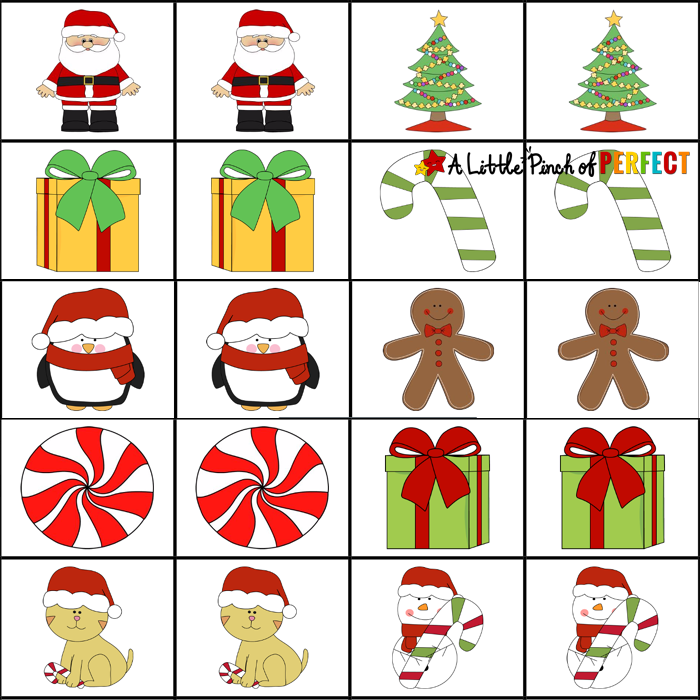 Free Christmas Printable Memory Game for Kids