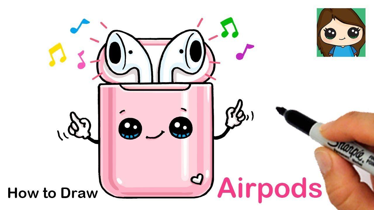 How To Draw Apple Airpods Youtube Cute Kawaii Drawings Cute Doodle Art Cute Disney Drawings