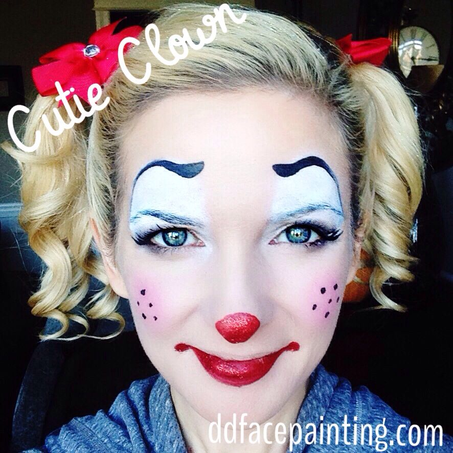 cute easy clown face paint inspired by ashleahenson. Black Bedroom Furniture Sets. Home Design Ideas