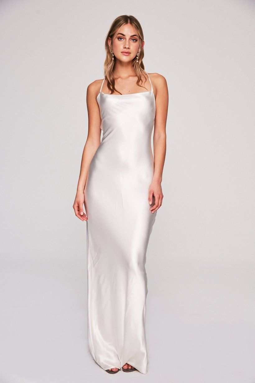 61856c18 Custom made, full length gown, cut on the bias with straps that cross & tie  in the back. Lighter colors available lined here.Please allow 4 months to  ship.