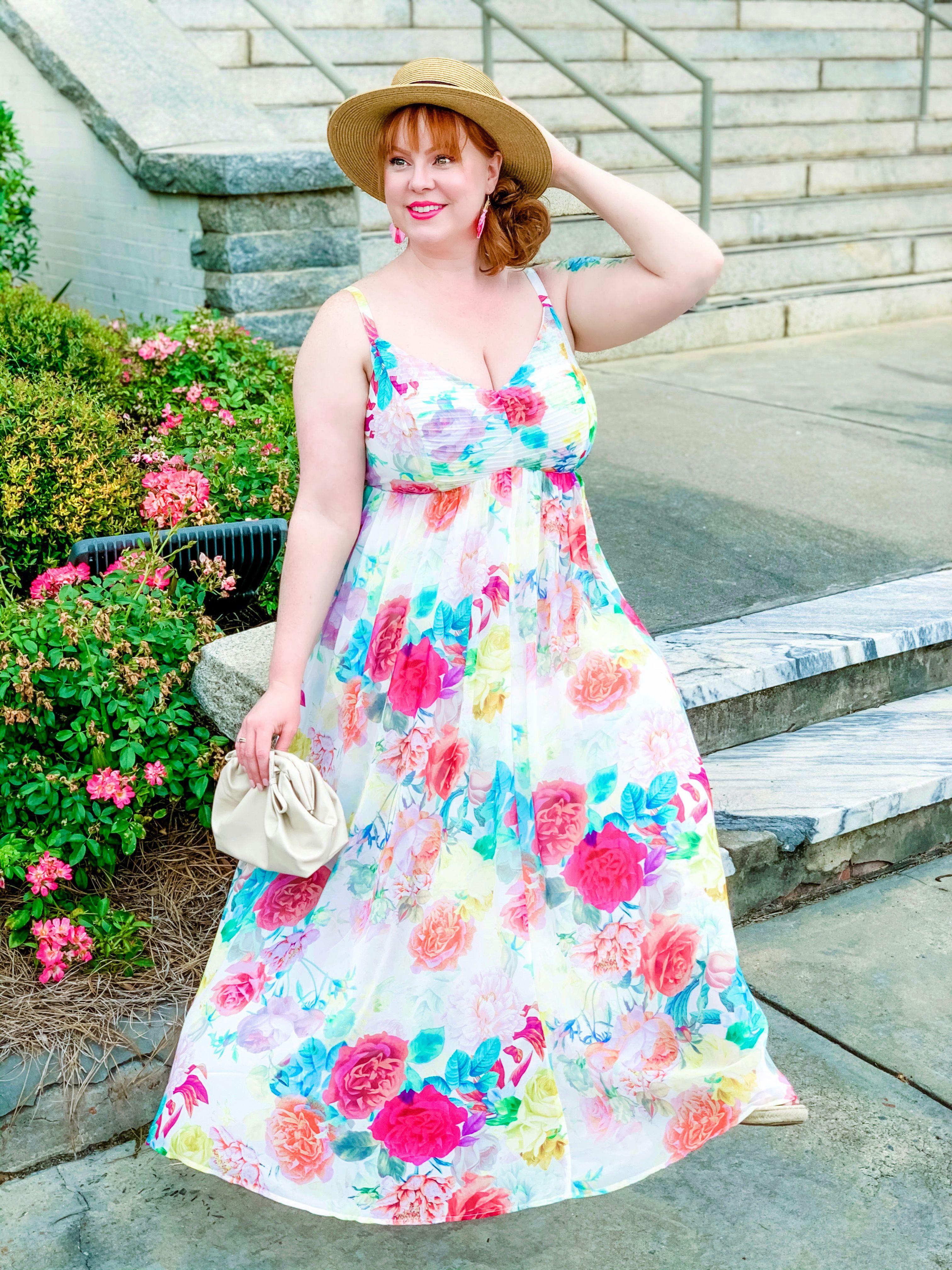 Plus Size Spring Outfit Ivory Floral Maxi Dress Summer Dresses Plus Size Dresses [ 4032 x 3024 Pixel ]