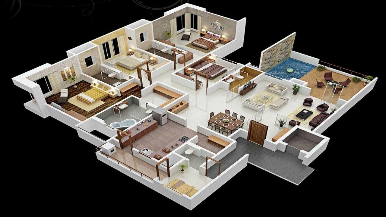 Four Bedroom 3d Design 4 Bedroom House Floor Plans 3d 3 Bedroom House Modern In 2020 4 Bedroom House Designs 3d House Plans House Layout Plans