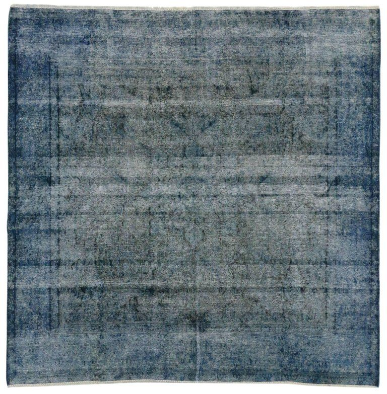 Distressed Overdyed Blue Persian Rug With Modern Industrial Style Square Rug Blue Persian Rug Square Rugs Modern Persian Rug