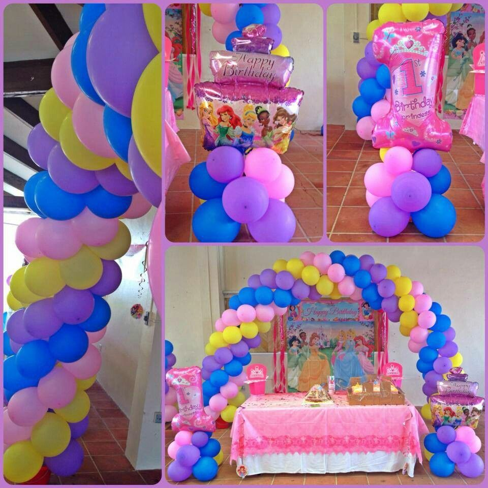 Disney princess 1st birthday decor by glenda for Balloon decoration for 1st birthday