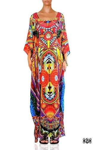 Digital Print Ladies Long Embellished Kaftan Maxi