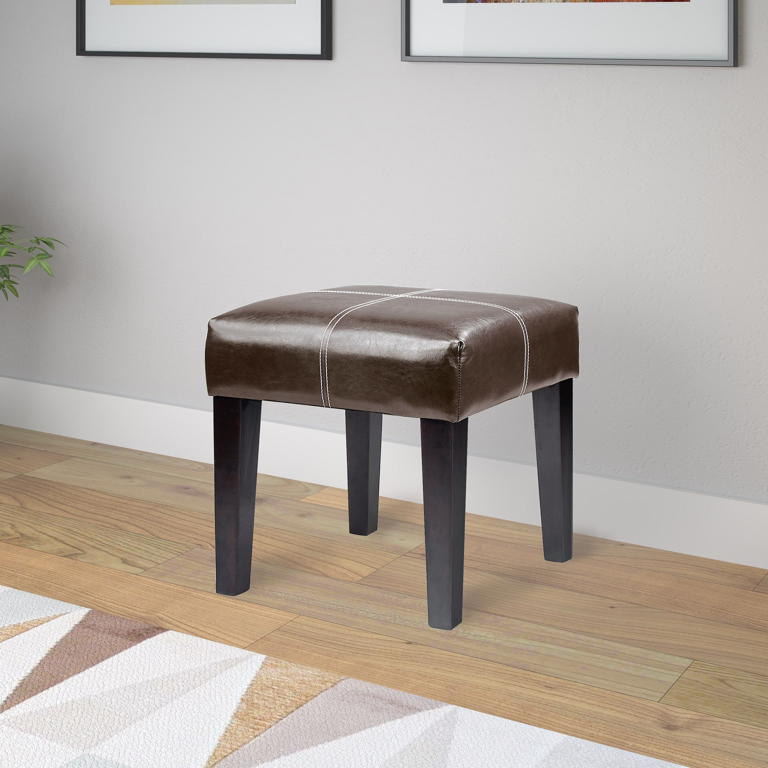 Dining room table with upholstered bench  CorLiving Antonio inch Bonded Leather Bench Dark Brown Size