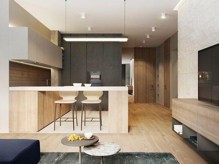 Open space cucina soggiorno, arredamento cucina con isola laterale e ...