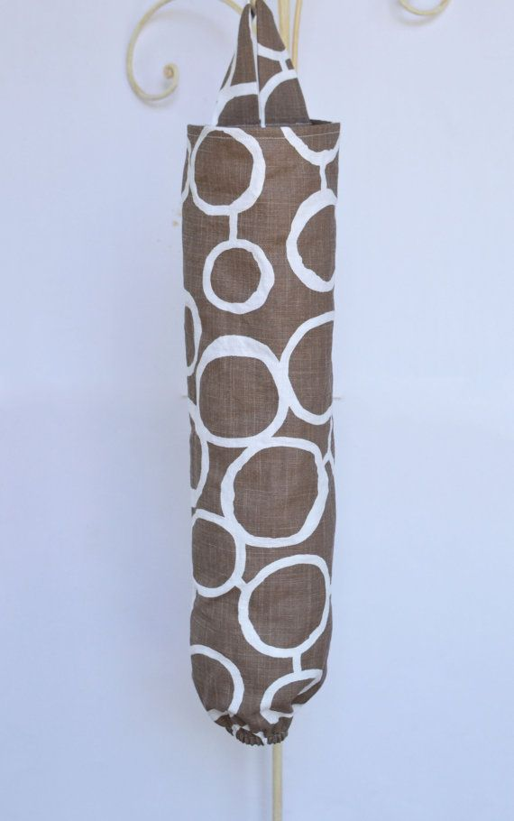 Plastic Grocery Bag Holder Freehand Brown and White by ablemabel Use to hold grocery bags for wrapping diapers in so the kitchen doesn't stink.