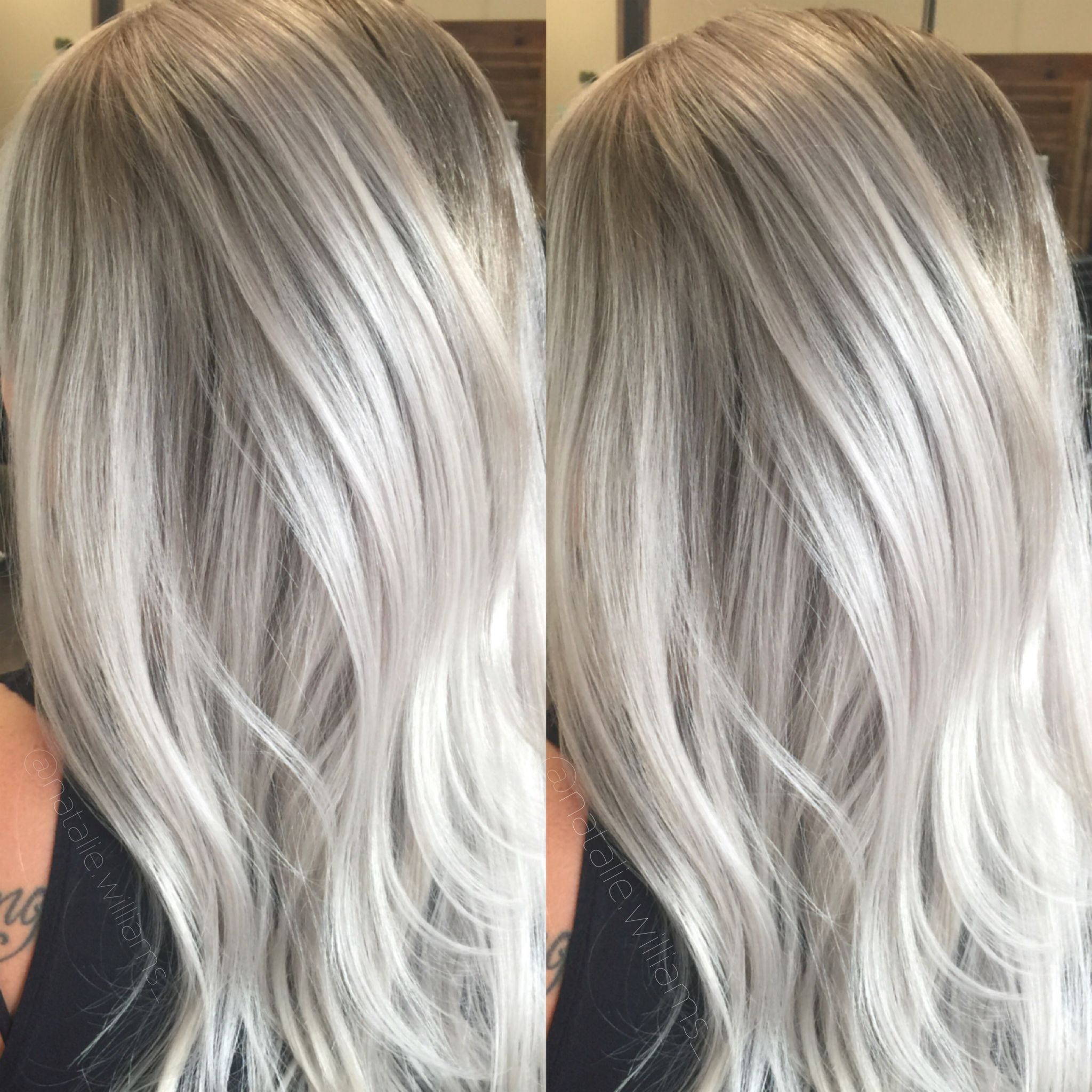 silver hair grey white