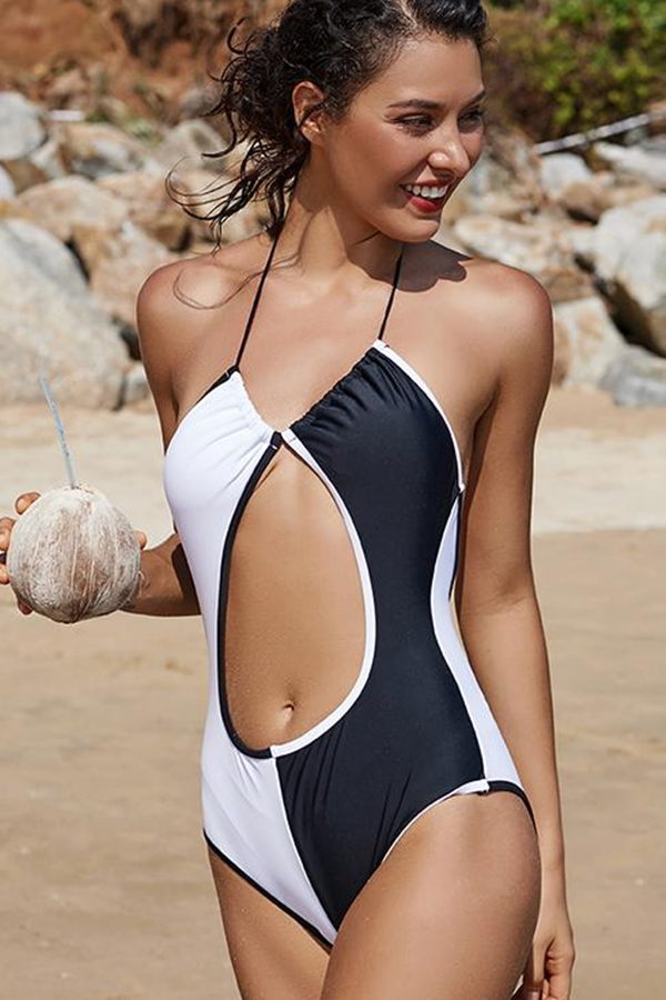 396ac4a568c3a Creative One-piece Swimsuit Black and White Tummy Cutout Swimsuit fashion  for Women.
