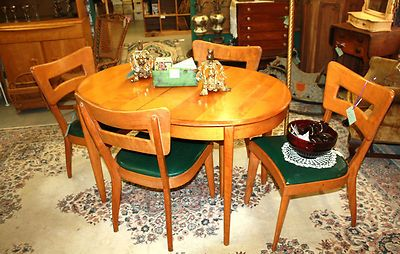 Vintage Mid Century Modern Heywood Wakefield Dining Room Set Table Chairs Hutch