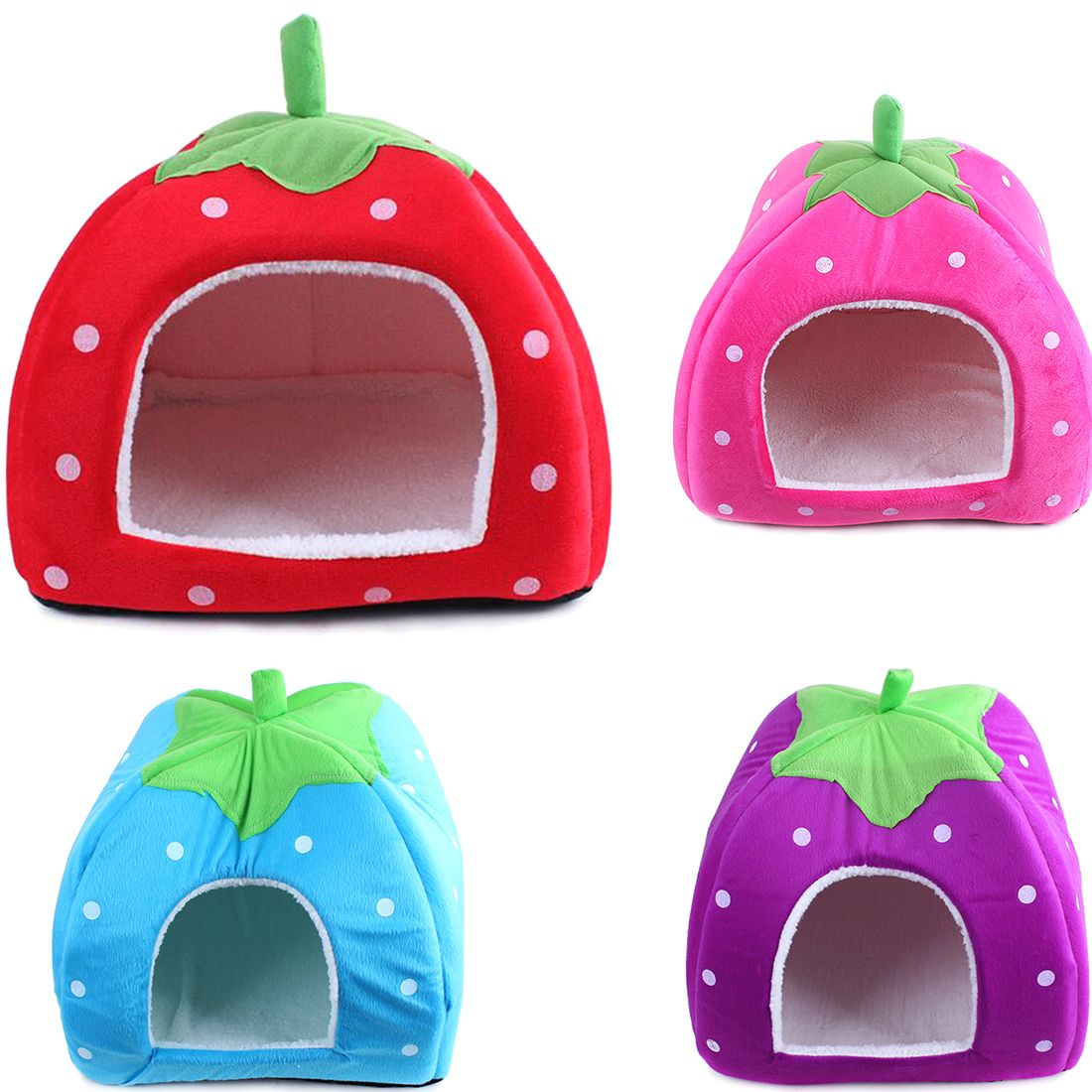 Foldable Soft Warm Strawberry Cave Dog Bed Cheap Leopard