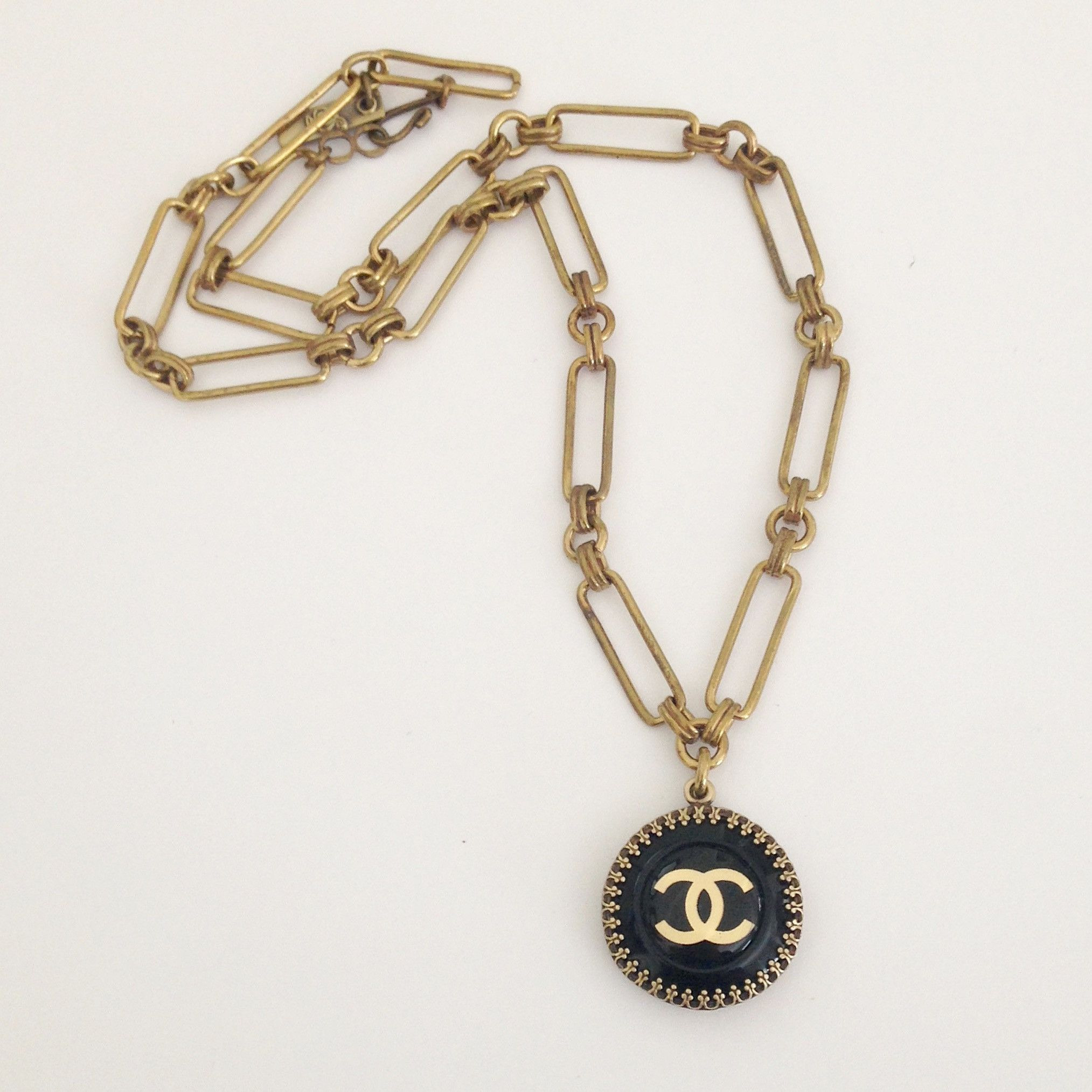 Black Beauty Chanel Button Necklace