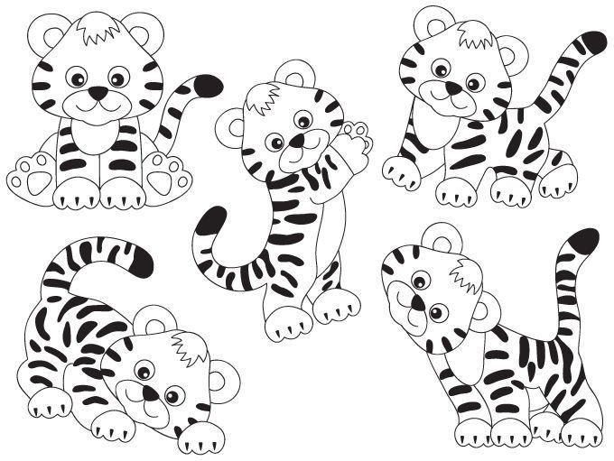 70 Off Sale Tiger Clipart Digital Vector Safari African Animal Tigers Baby Tiger Tiger Clip Art Personal Clip Art Animal Clipart Cute Coloring Pages