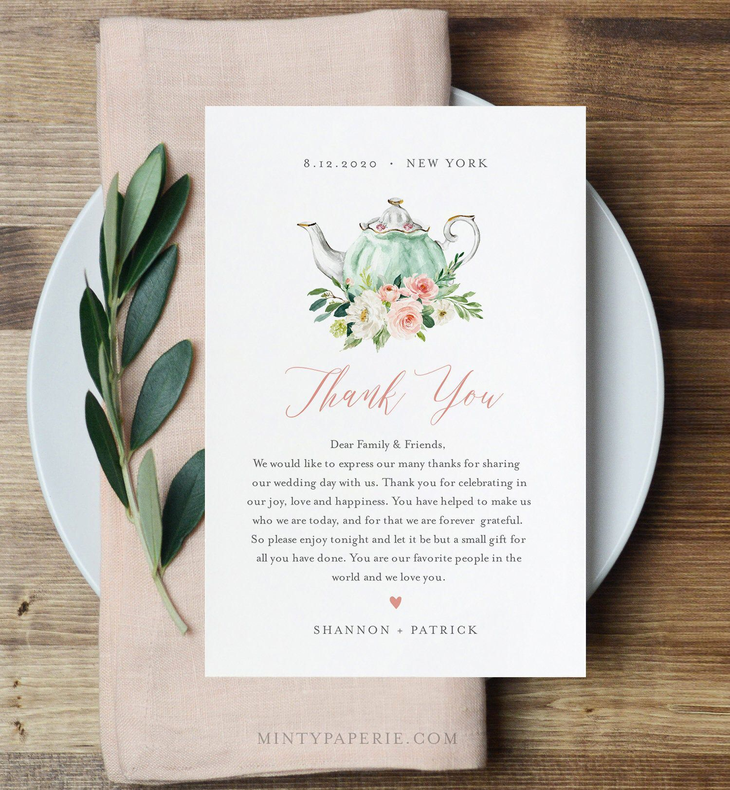 Tea Party Thank You Letter, Napkin Note, Printable Wedding Menu Thank You, Editable Template, INSTANT DOWNLOAD, Templett, 4x6 #085-118TYN#085118tyn #4x6 #download #editable #instant #letter #menü #napkin #note #party #printable #tea #template #templett #wedding