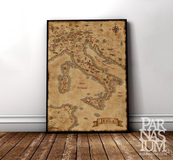 Italian Wall Art fantasy map of italy, italian gift fantasy fan, wall decor