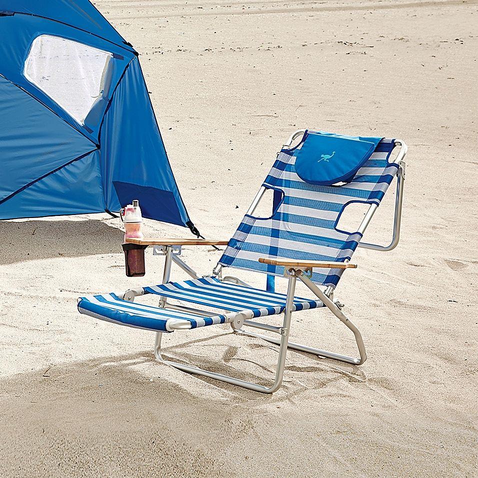 Ostrich 3n1 Beach Chair In Blue White Striped Beach Chairs Beach Chair Umbrella Poolside Chairs