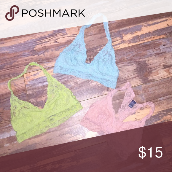 bf0cb55705 Bralette Pack All three bralettes a come together. Green and Blue are  mediums and pink is a small. All fit as smalls. Good condition. aerie  Intimates ...