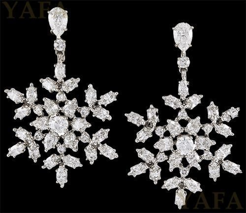18k White Gold And Platinum Diamond Snowflakes Earrings Signed Harry Winston Metal Type Two Tone Country Of Origin Usa Year Modern By