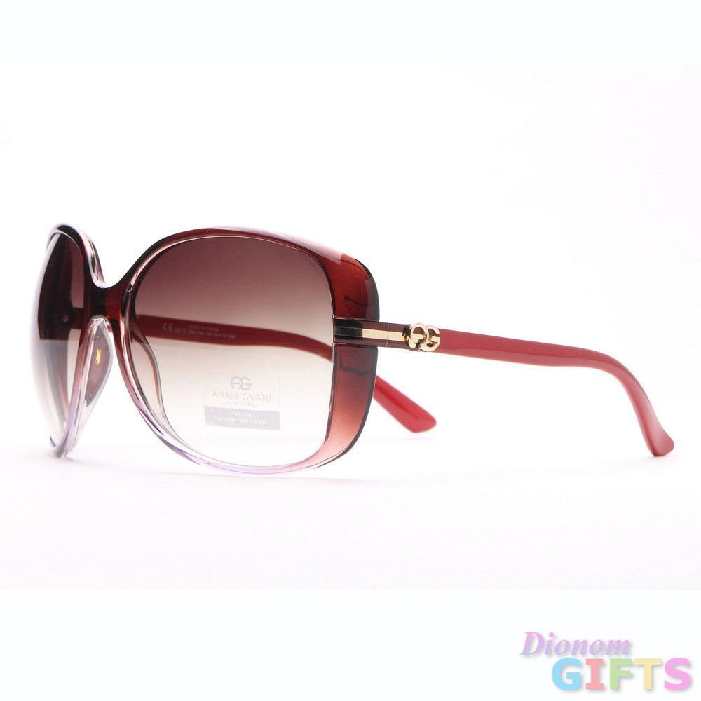 Anais Gvani Round Oblong Sunglasses - Red Color: Red