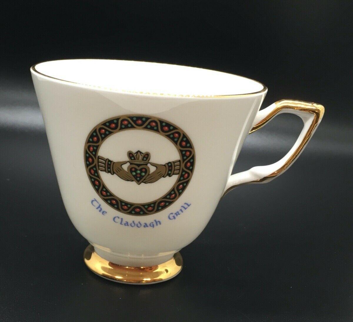 Royal Tara Claddagh Brooch Cup Bone China Galway Ireland Claddagh Grill Gold Rimbone